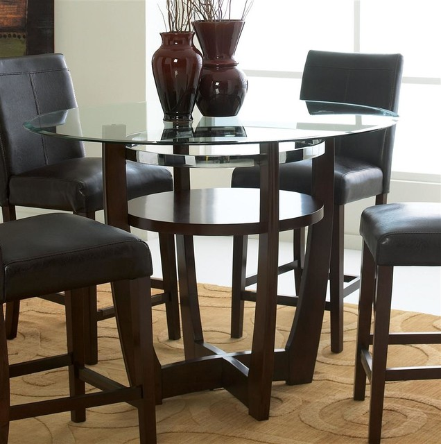 counter height round table in deep bro contemporary dining tables