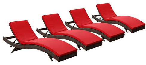Peer chaise outdoor patio set of 4 brown red barcelona for Barcelona chaise lounge set