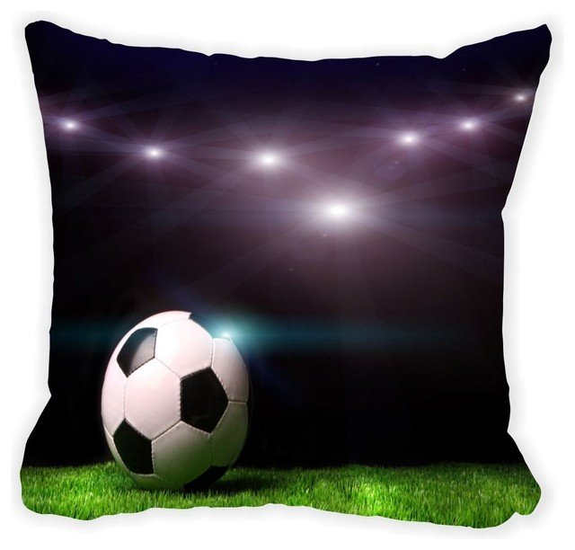 Black Microfiber Throw Pillows : Soccer Ball On Black Background Microfiber Throw Pillow, With Fill - Modern - Decorative Pillows ...