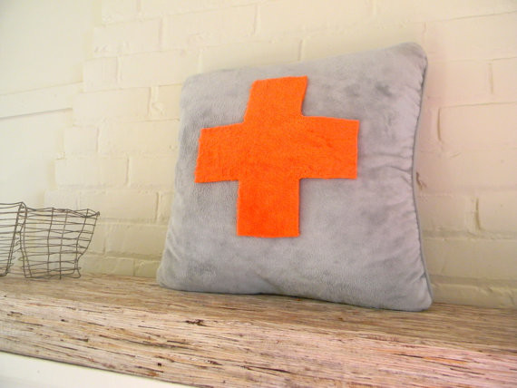 Big Orange and Lemon Yellow Reversible First-Aid Pillow Cover by Pillowhappy - Modern ...