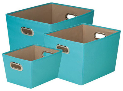 Turquoise storage bin set of 3 contemporary storage for Turquoise bathroom bin
