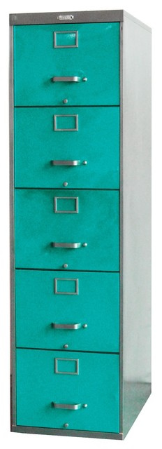 File Cabinet, 5-Drawer, Turquoise - Eclectic - Filing Cabinets - other metro - by Twenty Gauge