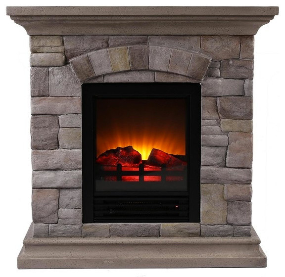 Faux stone portable fireplace small traditional for Small fake fireplace