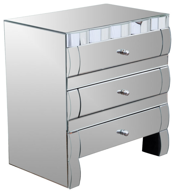 Isadora mirrored 3 drawer nightstand contemporary for Modern bedside tables nightstands