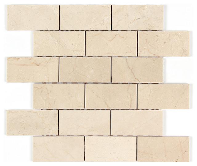 Crema Marfil Polished Marble 2x4 Brick Mosaic