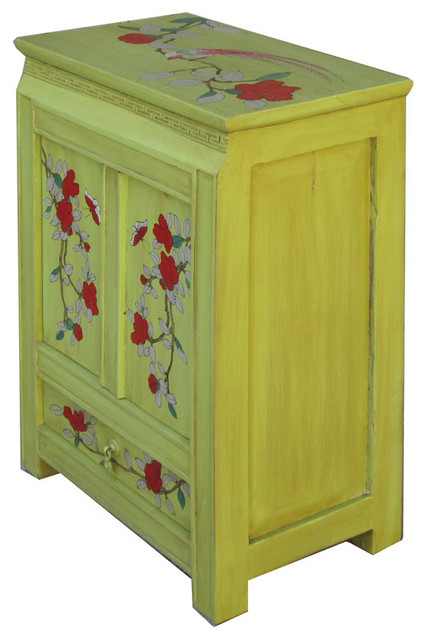 Chinese flower and bird nightstand green asian for Japanese bedside table
