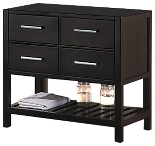 London 36 single sink base cabinet in espresso with open - Bathroom vanity with shelf on bottom ...