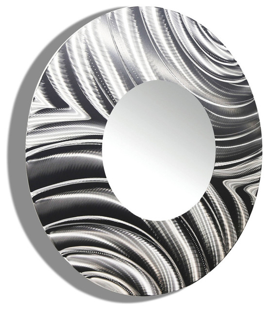 Large round silver modern metal mirror contemporary for Large silver modern mirror