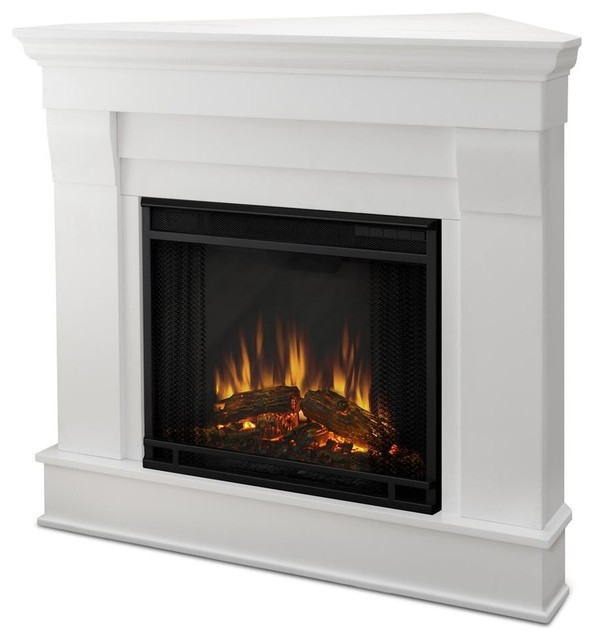 Chateau corner electric fireplace in white traditional for Indoor corner fireplace