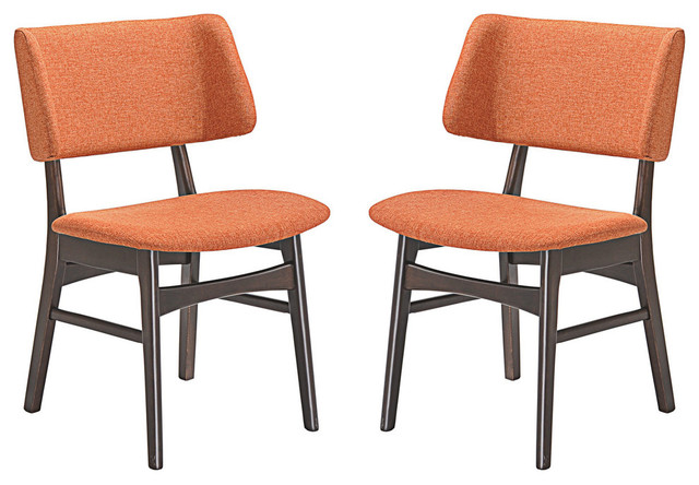 Modern Contemporary Dining Side Chair Set Of 2 Orange
