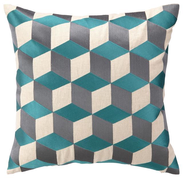 Modern Embroidered Pillow : DL Rhein Cubism Sea Blue Embroidered Pillow modern-decorative-pillows