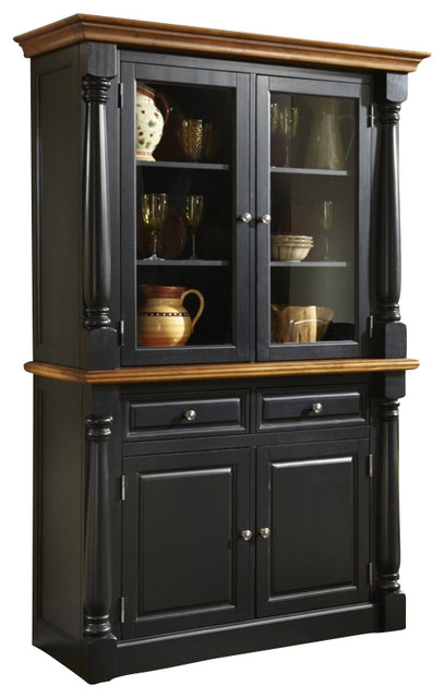 Home Styles Monarch Buffet and Hutch in Black and Oak Finish - Traditional - China Cabinets And ...