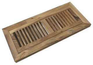 Acacia Unfinished Wood Floor Flush Mount Vent Register - Rustic - Registers Grilles And Vents ...