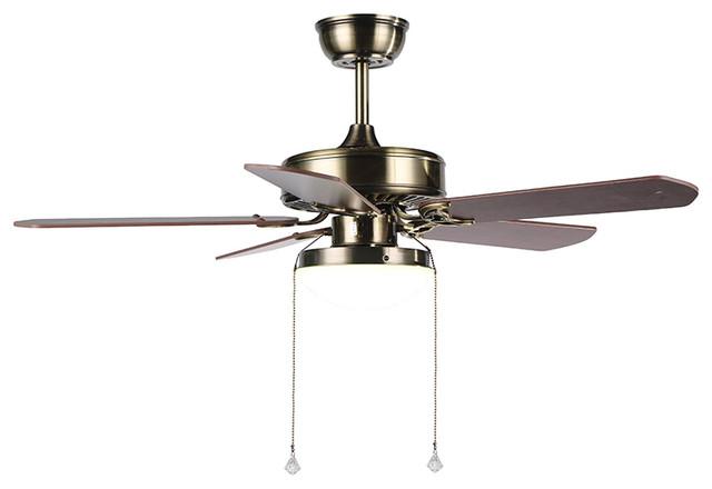 Modern Ceiling Fan, Round Base Wooden Blades
