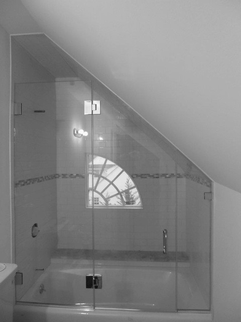 Frameless Glass Shower Enclosure With Angled Ceiling