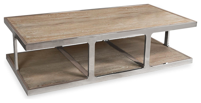 Zanuso Industrial Reclaimed Elm Stainless Steel Rectangular Coffee Table Industrial Coffee