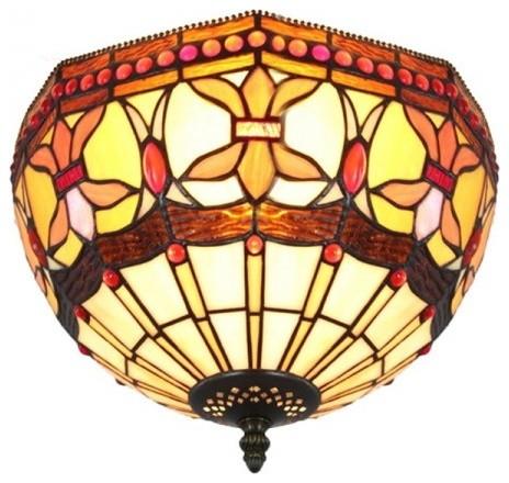 stained glass vintage tiffany indoor flush mount ceiling. Black Bedroom Furniture Sets. Home Design Ideas