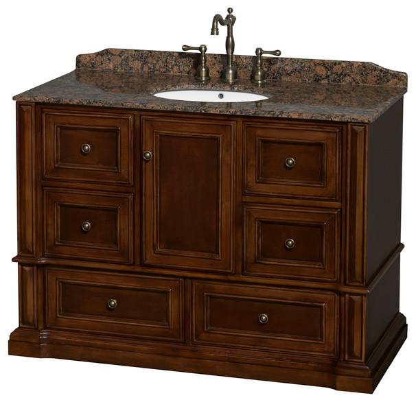 Rochester 48 Cherry Vanity BRN Granite Top Undermount Round Sink Tr
