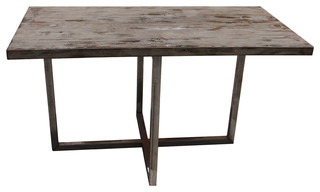 Rustic Reclaimed Woo And Metal Dining Table Modern Dining Tables Los An