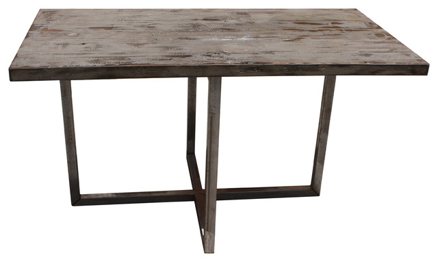 Rustic Reclaimed Woo And Metal Dining Table Modern