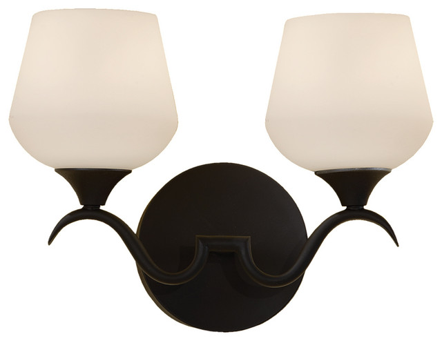 Vanity Light Bulb Strip : Murray Feiss VS18602-BK Merritt 2 Bulb Black Vanity Strip - Transitional - Bathroom Vanity ...