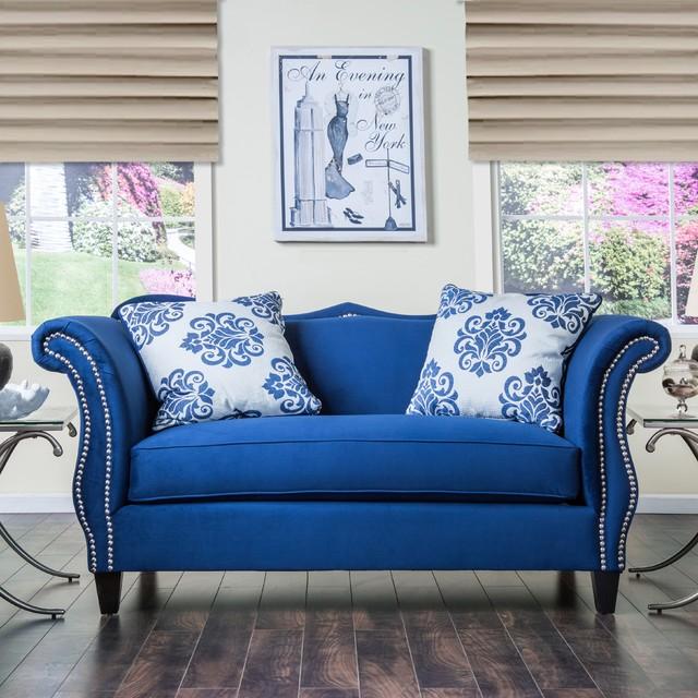Furniture Of America Othello Royal Blue Loveseat Contemporary Loveseats