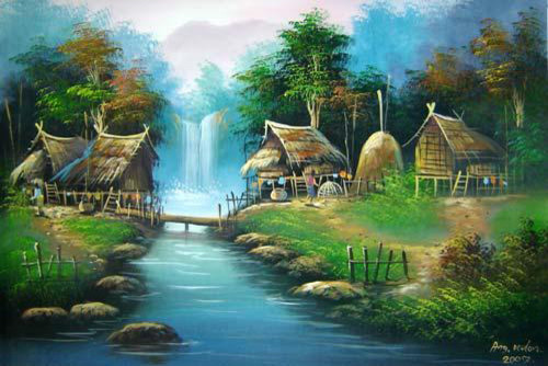 Oriental Village Painting - Asian - Paintings - by Oriental Decor
