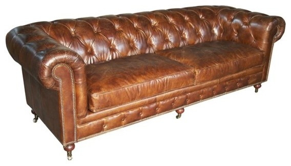 Noir Furniture 4 Seater Tufted Sofa In Brown Vintage
