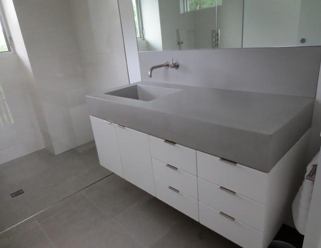 Gray Custom Concrete Bathroom Vanity Sink With Countertop Contemporary