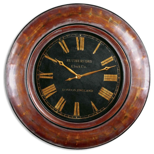 Tyrell Large Round Distressed Wood Clock 47x47 Rustic