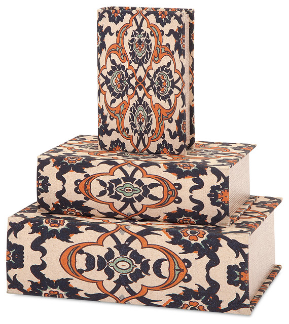 Cole book boxes set of 3 mediterranean books by for Decor containers coles