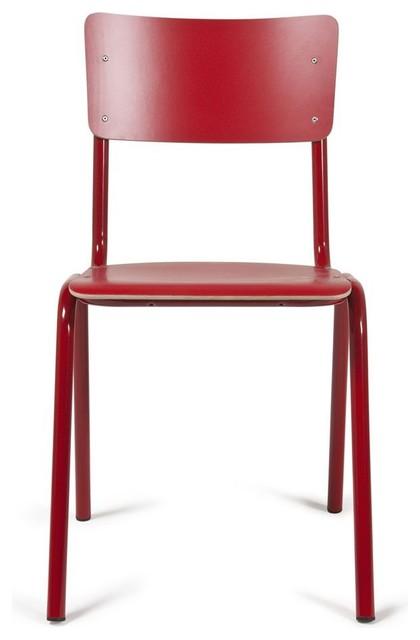 chaise back to school couleur rouge scandinave chaise de salle manger par. Black Bedroom Furniture Sets. Home Design Ideas