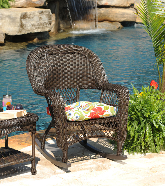 Savannah Brown Wicker Rocker Traditional Outdoor Lounge Chairs other me