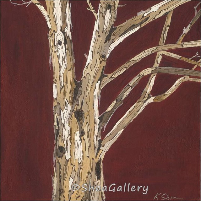 Very large wall art canvas print tree trunks oxblood red for Tree trunk wall art