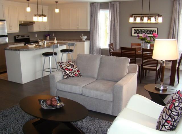 Open concept living dining kitchen aire ouverte salon for Cuisine salle a manger ouverte