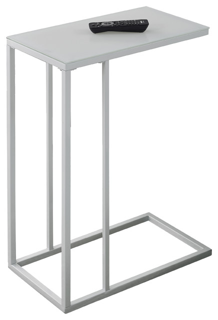 Metal accent table with frosted tempered glass modern side tables