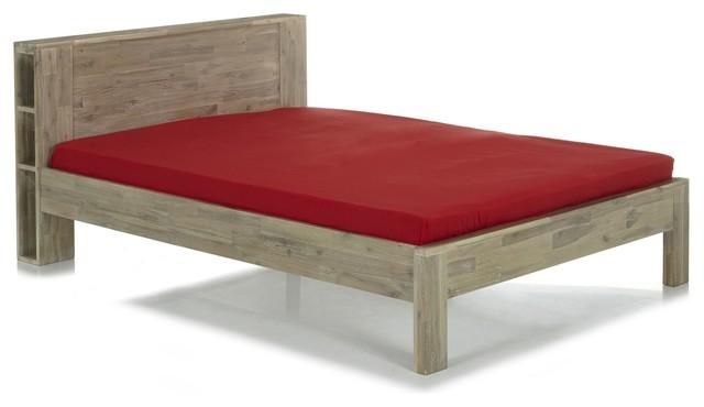montreal lit en acacia avec t te de lit 160x200cm