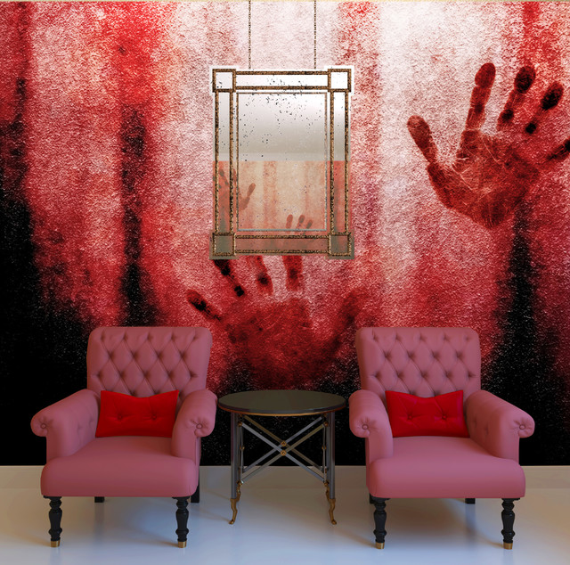 Bloody hands wall mural contemporary wallpaper for Bloody wall mural