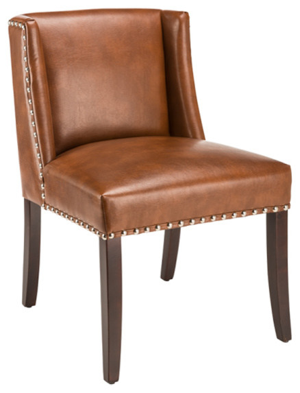 Low back wing dining chair in bonded leather saddle for Modern low back dining chairs