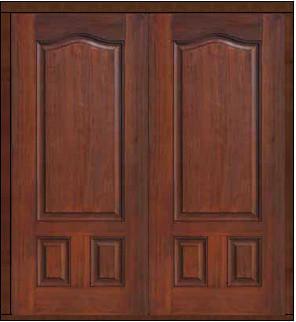 Prehung Exterior Double Door 80 Fiberglass 3 Panel Eyebrow