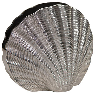 Zodax mauritius aluminum fan shell vase transitional for Gardening tools mauritius