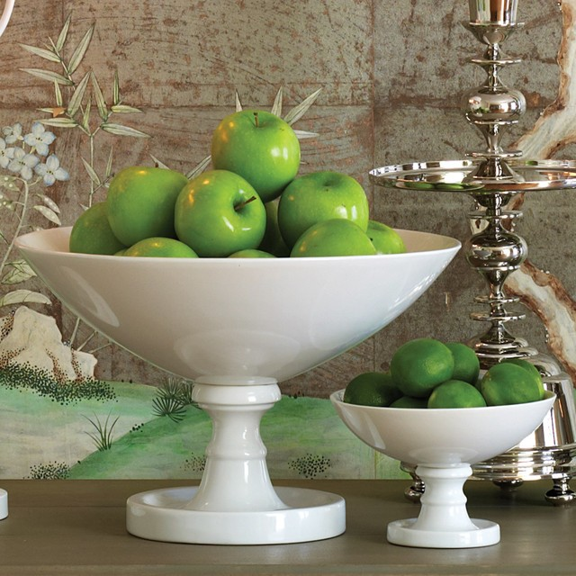 Slanted Tall -large Pedestal Footed Bowl Clear Glass-wedding ...