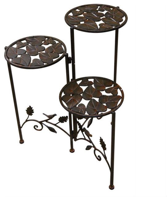 3 Tier Round Metal Planter Stand Outdoor Pots And Planters
