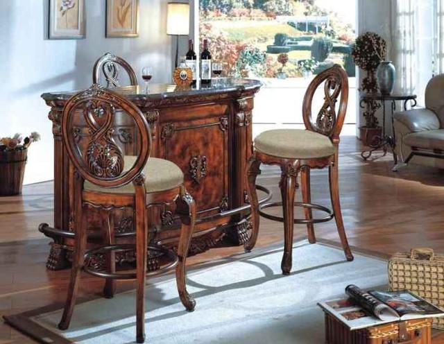Mcferran Home Furnishing 3 Piece Dining Room Set Bar6007 3set Traditional Wine And Bar