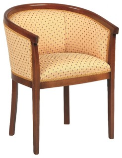 Fauteuil baron merisier et tissu jaune traditional armchairs accent chairs by inside75 - Traditionele fauteuil ...