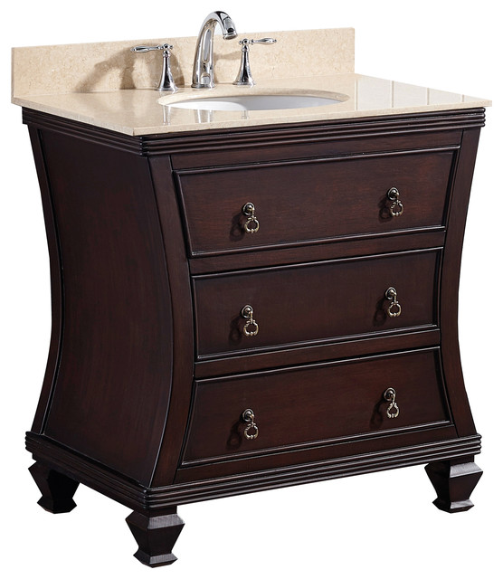 Traditional Birch Vanity Base Only Antique Walnut 31