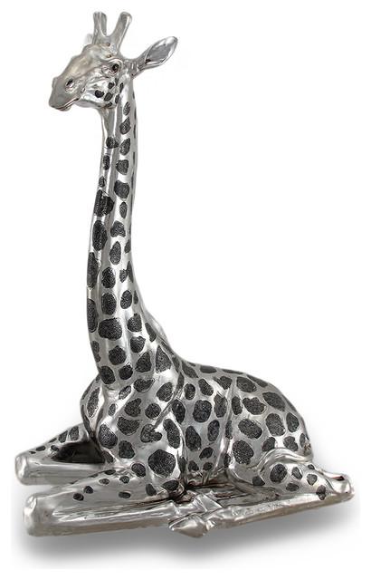 Polished Chrome And Black Finish Resting Giraffe Statue