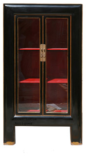 Black Piano Painted Tall Storage Glass Display Cabinet