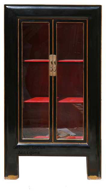 Black Piano Painted Tall Storage Glass Display Cabinet - Asian - Bookcases - by Golden Lotus ...