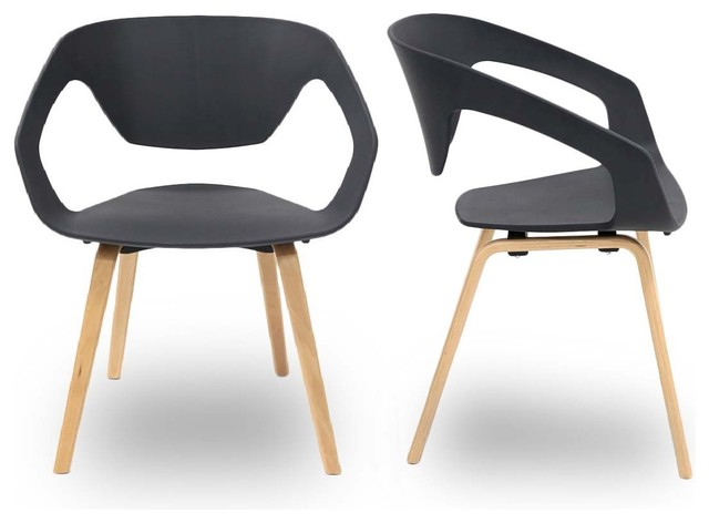 Lot de 2 chaises design scandinave danwood couleur noir for Chaise couleur salle a manger